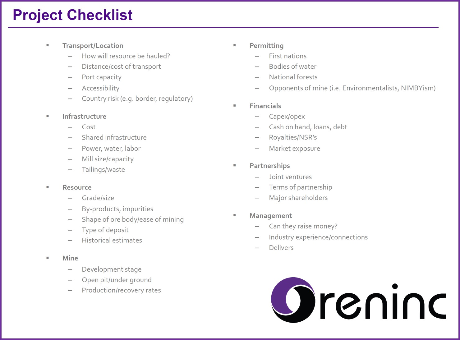Oreninc ProjectChecklist